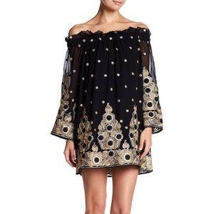 Endless Rose Black &Gold Off the shoulder dress XS